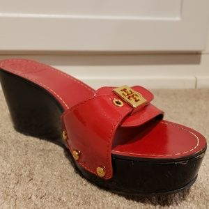 Tory Burch Rosie Platform Sandals Red Patent 8